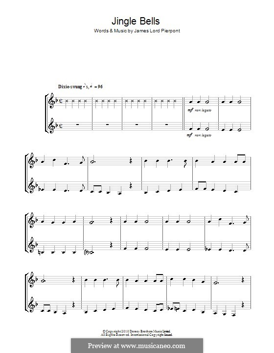 Jingle Bells (Printable scores): For two clarinets by James Lord Pierpont