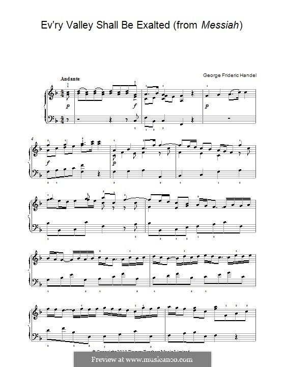 No.3 Every Valley Shall Be Exalted: For piano by Georg Friedrich Händel