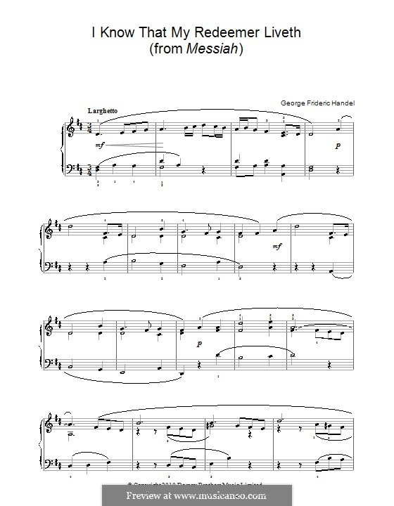 No.45 I Know That My Redeemer Liveth: Version for easy piano by Georg Friedrich Händel
