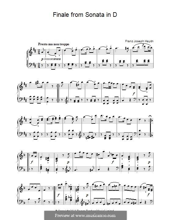 Sonata for Piano No.50 in D Major, Hob.XVI/37: Finale by Joseph Haydn