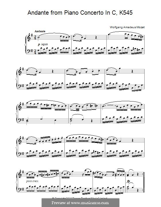 Sonata for Piano No.16 in C Major, K.545: Movement II by Wolfgang Amadeus Mozart