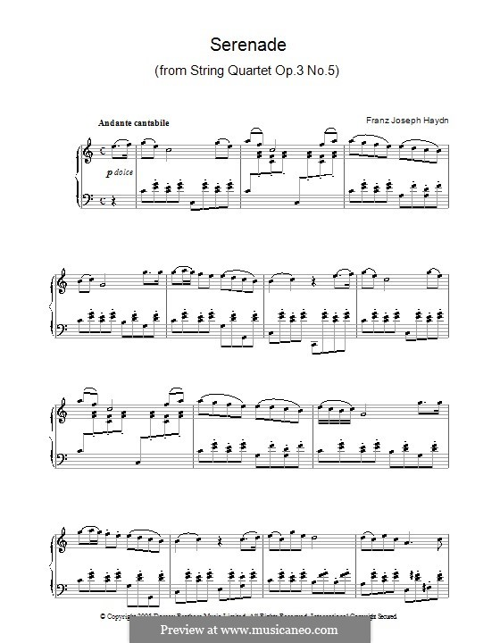 String Quartet in F Major, Hob.III/17 Op.3 No.5: Movement II. Version for piano by Joseph Haydn
