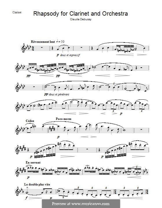 Rhapsody No.1 in G Flat Major, L.116: Solo part by Claude Debussy
