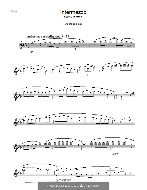 Selected Themes: Prelude to Act III, for flute by Georges Bizet