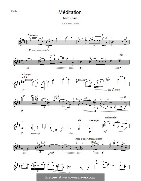 Meditation: For violin by Jules Massenet