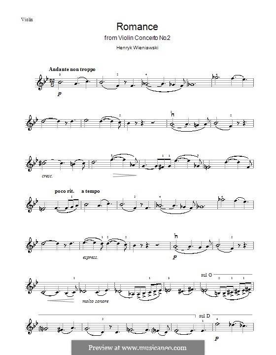 Concerto for Violin and Orchestra No.2, Op.22: Solo part, Movement II by Henryk Wieniawski
