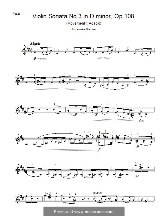 Sonata for Violin and Piano No.3 in D Minor, Op.108: Movement II – violin part by Johannes Brahms