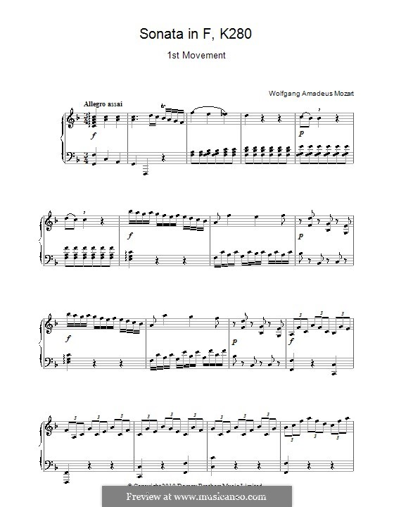Sonata for Piano No.2 in F Major, K.280: Movement I by Wolfgang Amadeus Mozart