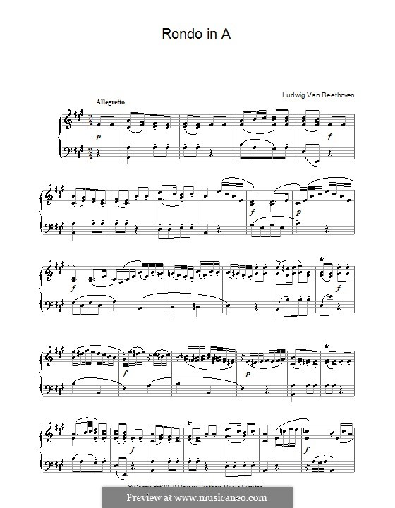 Rondo in A Major, WoO 49: For piano (high quality sheet music) by Ludwig van Beethoven