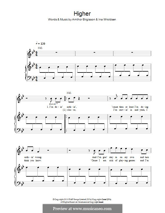 Higher (The Saturdays): For voice and piano (or guitar) by Arnthor Birgisson, Ina Wroldsen