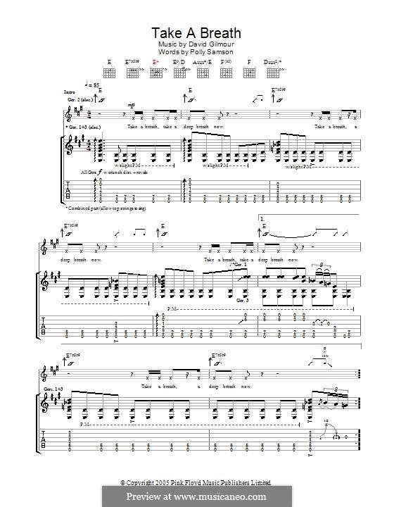 Take a Breath: For guitar with tab by David Gilmour