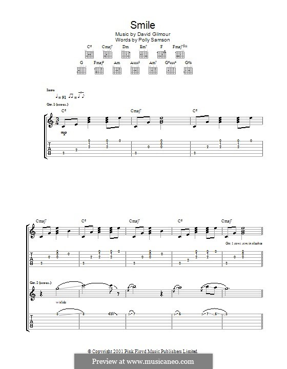 Smile: For guitar with tab by David Gilmour