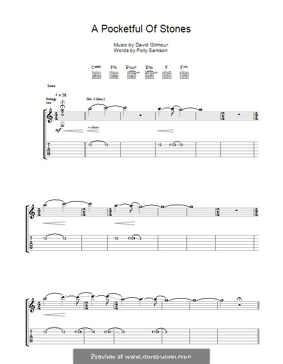A Pocketful of Stones: For guitar with tab by David Gilmour