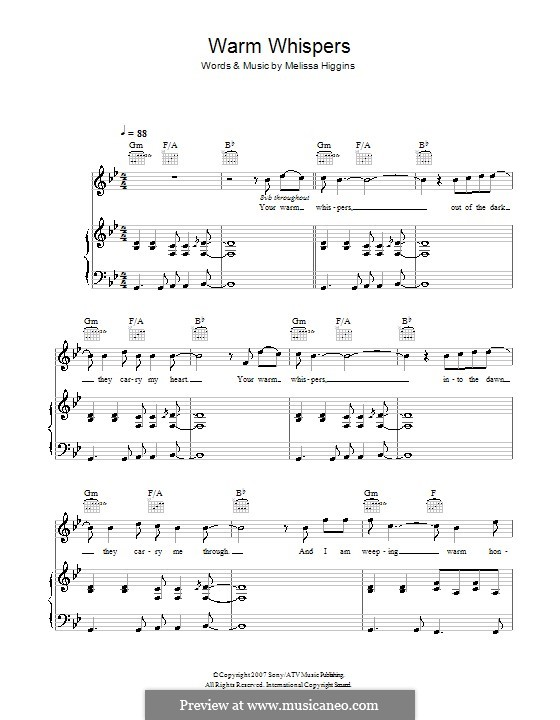 Warm Whispers (Missy Higgins): For voice and piano (or guitar) by Melissa Higgins