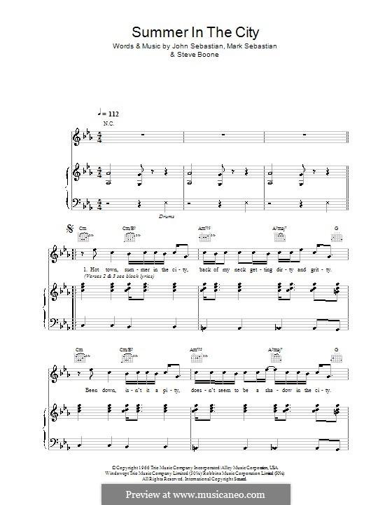 Summer in the City (The Lovin' Spoonful): For voice and piano (or guitar) by John B. Sebastian, Mark Sebastian, Steve Boone