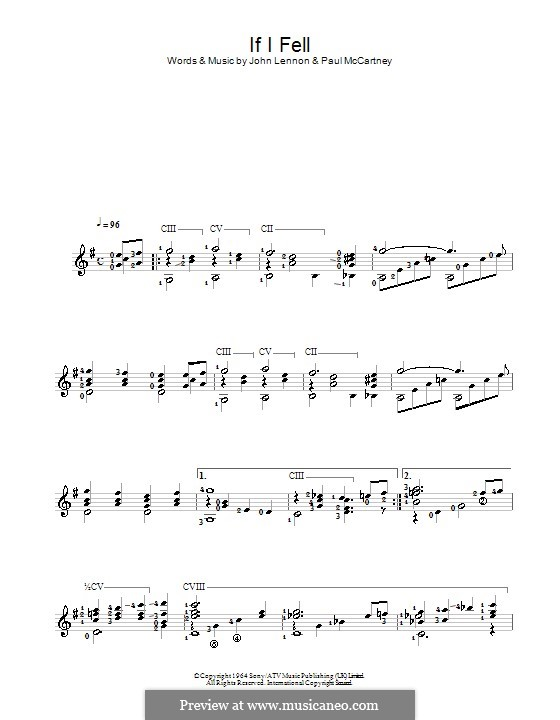 If I Fell (The Beatles): For guitar by John Lennon, Paul McCartney