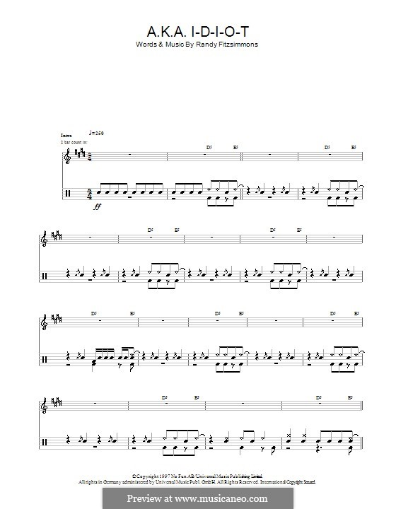 A.K.A. I-D-I-O-T (The Hives): For drums by Randy Fitzsimmons