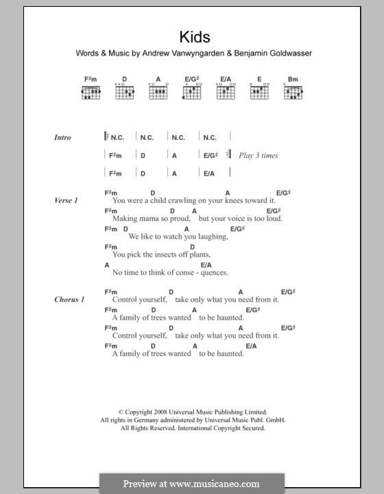 Kids (MGMT): Lyrics and chords by Andrew Vanwyngarden, Benjamin Goldwasser