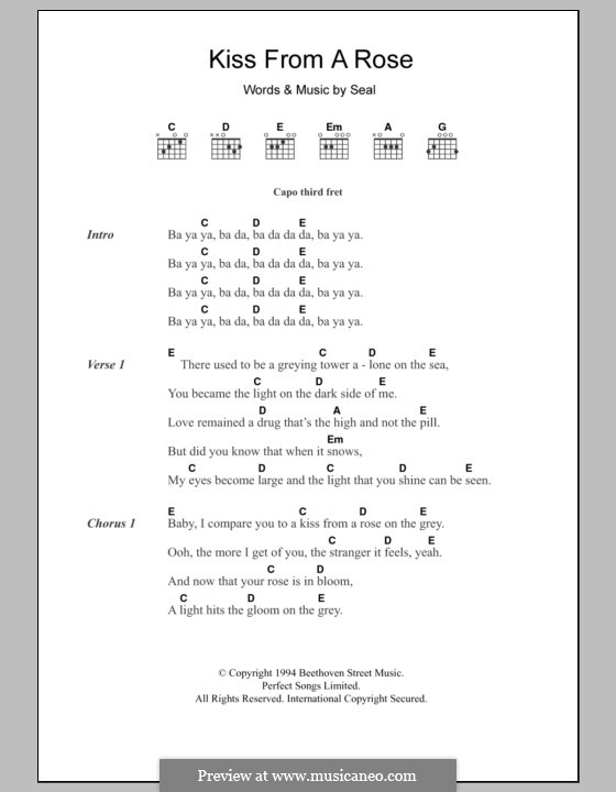 Kiss from a Rose: Lyrics and chords by Seal