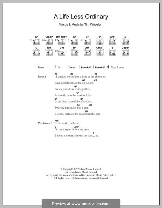 A Life Less Ordinary (Ash): Lyrics and chords by Tim Wheeler