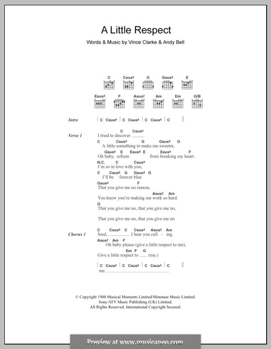 A Little Respect (Wheatus): Lyrics and chords by Andy Bell, Vince Clarke