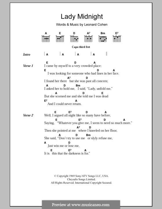 Lady Midnight: Lyrics and chords by Leonard Cohen