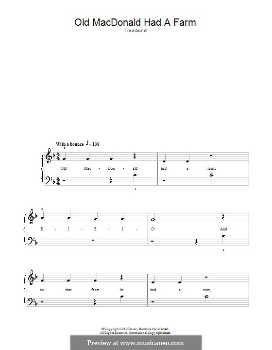Old MacDonald Had a Farm: For easy piano by folklore
