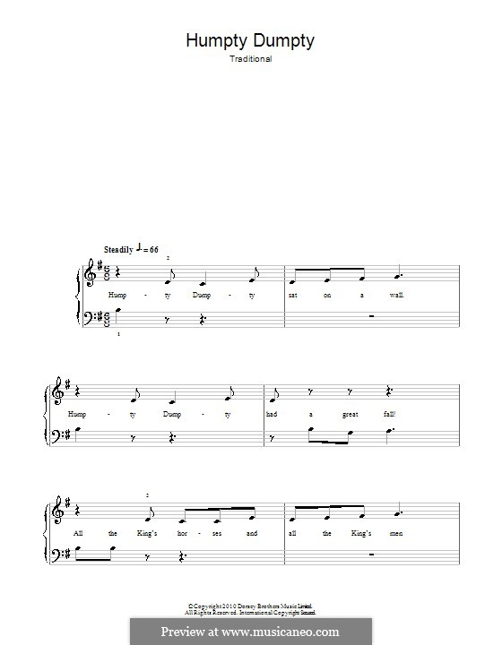 Humpty Dumpty: For easy piano by folklore