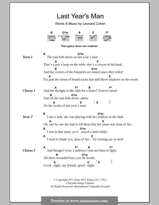 Last Year's Man: Lyrics and chords by Leonard Cohen