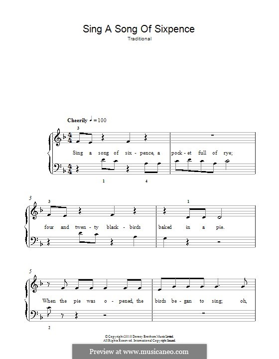 Sing a Song of Sixpence: For easy piano by folklore
