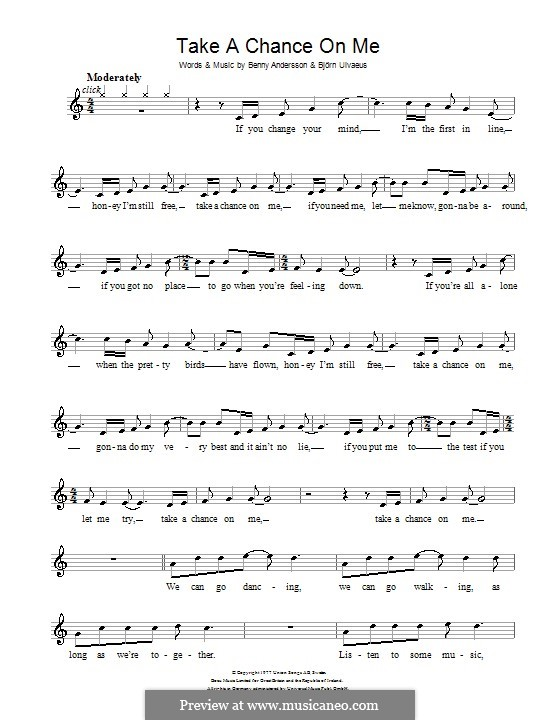 Take a Chance on Me (ABBA): For recorder by Benny Andersson, Björn Ulvaeus