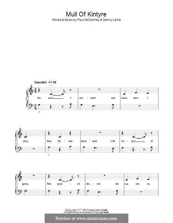 Mull of Kintyre (Wings): For easy piano by Denny Laine, Paul McCartney