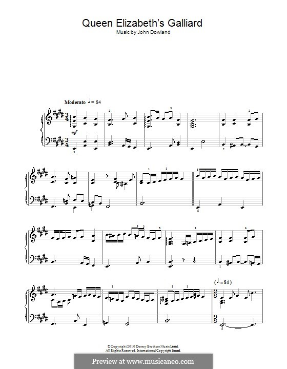 Queen Elizabeth's Galliard: For piano by John Dowland