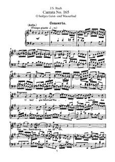 O heilges Geist- und Wasserbad, BWV 165: Piano-vocal score by Johann Sebastian Bach