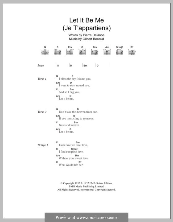 Let It Be Me (Je T'appartiens): Lyrics and chords by Gilbert Becaud, Manny Kurtz, Pierre Delanoe