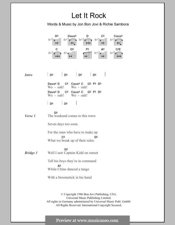 Let It Rock (Bon Jovi): Lyrics and chords by Jon Bon Jovi, Richie Sambora
