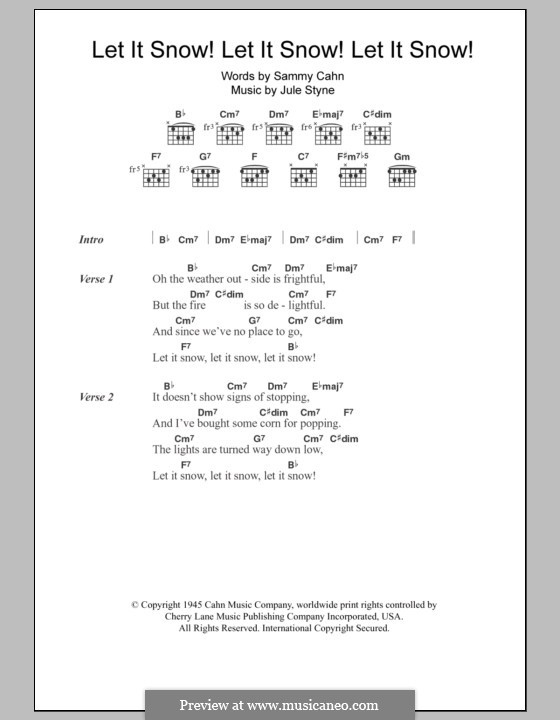 Let It Snow! Let It Snow! Let It Snow!: Lyrics and chords by Jule Styne