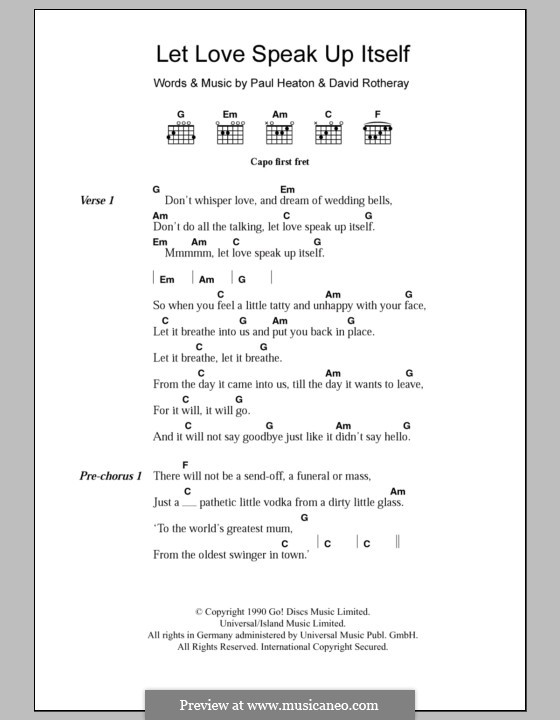 Let Love Speak Up Itself (The Beautiful South): Lyrics and chords by David Rotheray, Paul Heaton