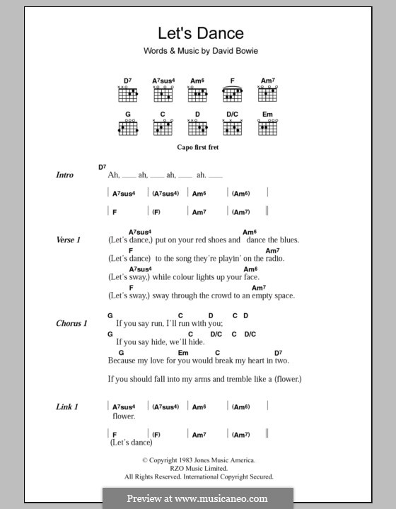 Let's Dance: Lyrics and chords by David Bowie