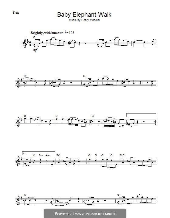Baby Elephant Walk: For flute by Henry Mancini