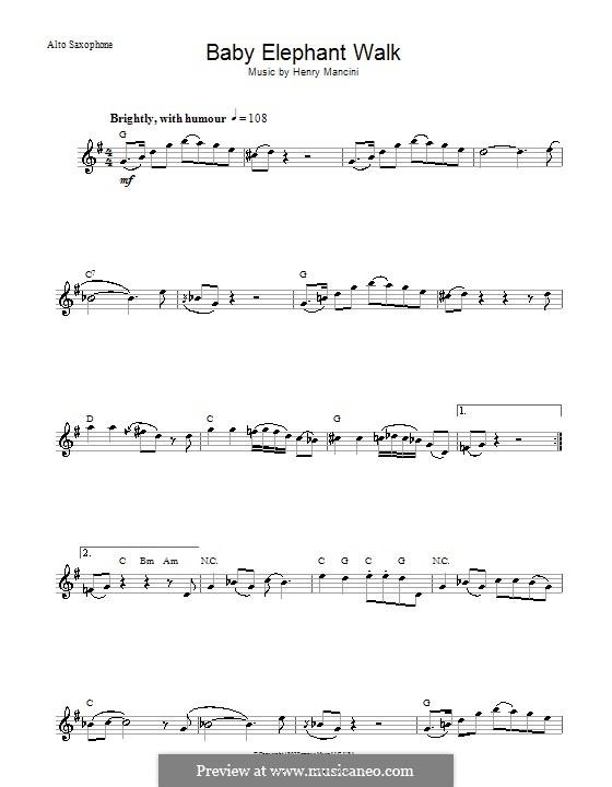 Baby Elephant Walk: For alto saxophone by Henry Mancini
