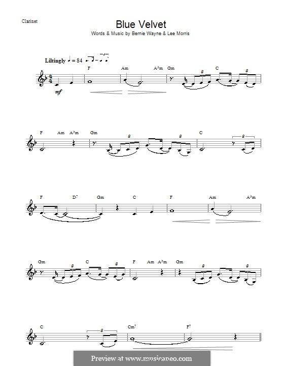 Blue Velvet: For clarinet by Bernie Wayne, Lee Morris