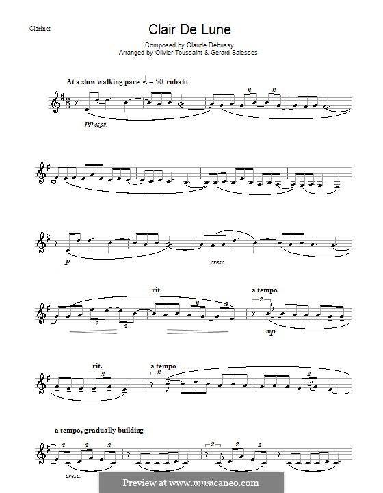 No.3 Clair de lune: For clarinet by Claude Debussy
