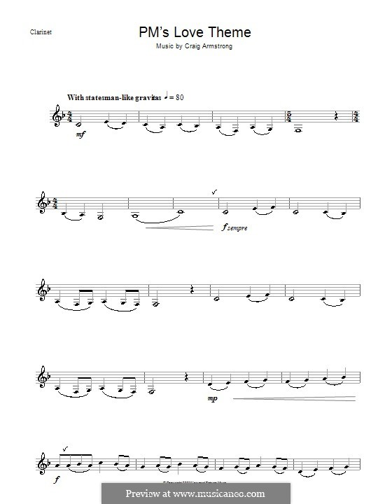 P.M.'s Love Theme (from Love Actually): For clarinet by Craig Armstrong