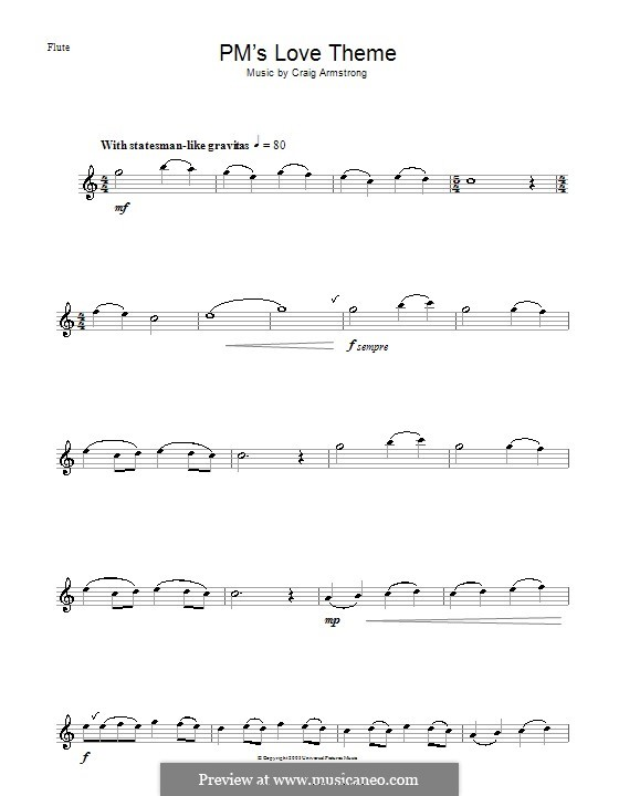 P.M.'s Love Theme (from Love Actually): For flute by Craig Armstrong