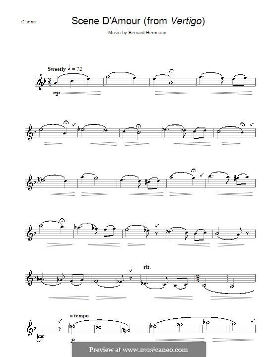 Scene d'Amour (from Vertigo): For clarinet by Bernard Herrmann