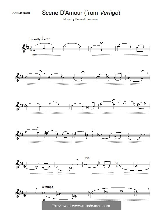 Scene d'Amour (from Vertigo): For alto saxophone by Bernard Herrmann