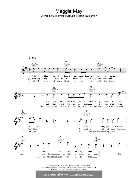 Maggie May: Melody line, lyrics and chords by Martin Quittenton, Rod Stewart