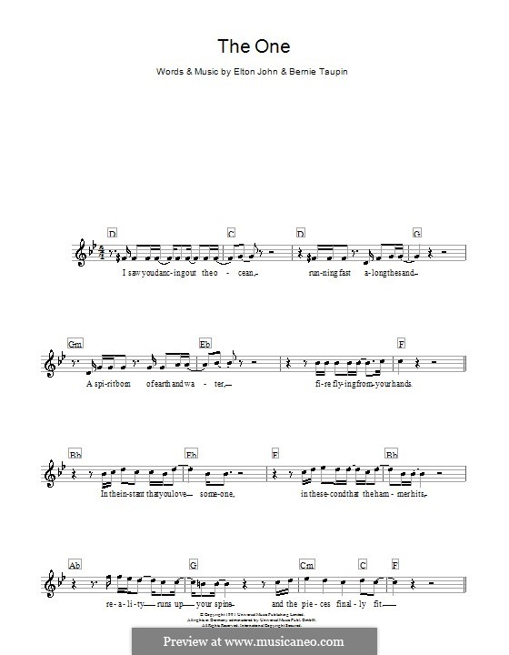 The One: Melody line, lyrics and chords by Elton John