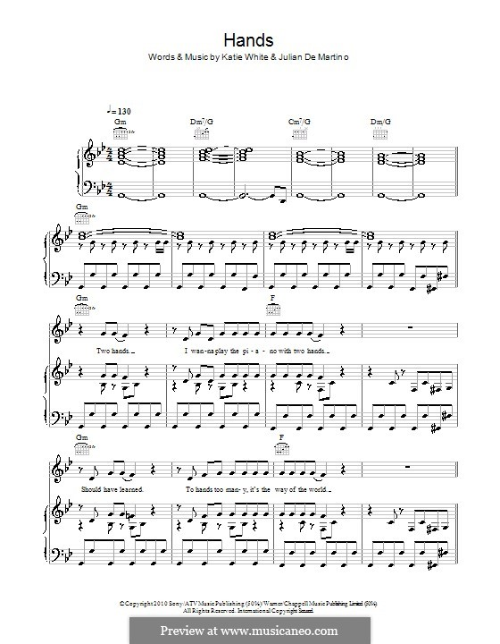 Hands (The Ting Tings): For voice and piano (or guitar) by Jules De Martino, Katie White